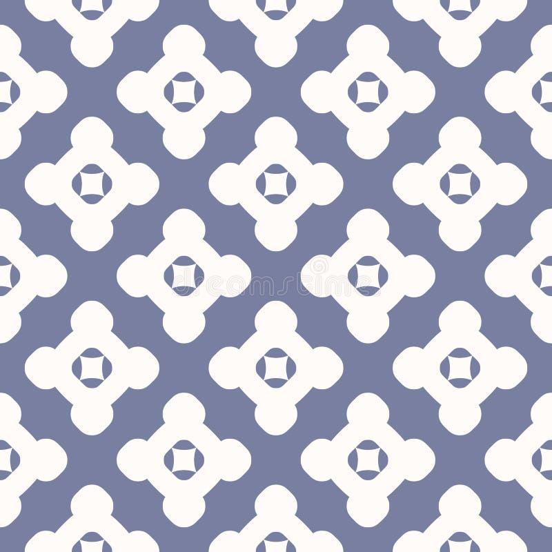简单的传染媒介几何花卉无缝的样式 减速火箭的蓝色和白色背景 向量例证
