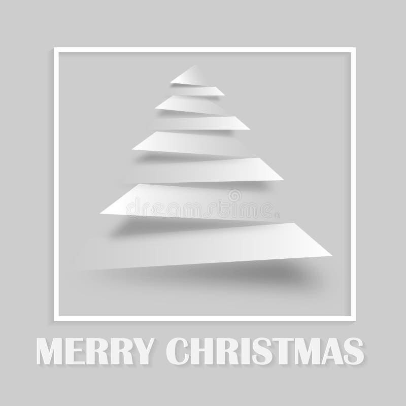 简单的传染媒介圣诞树由纸条纹-原始的新年做了 库存例证