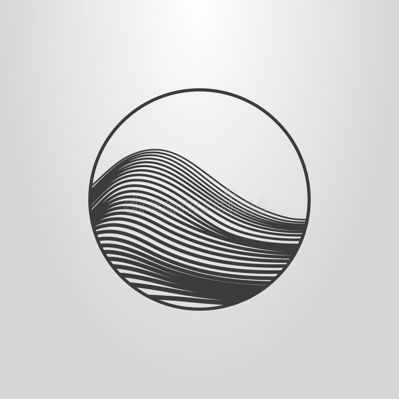 简单的传染媒介抽象山或波浪线艺术图表在一个圆的框架 库存例证