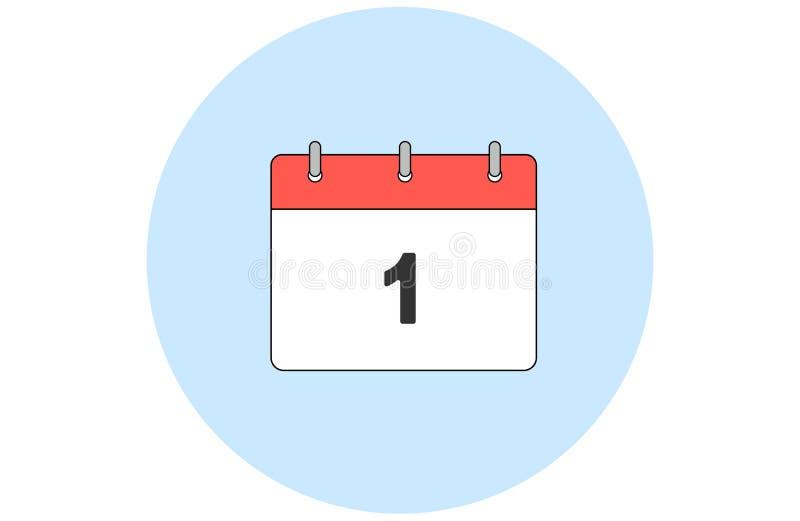 简单的传染媒介日历 天1 每个月 皇族释放例证