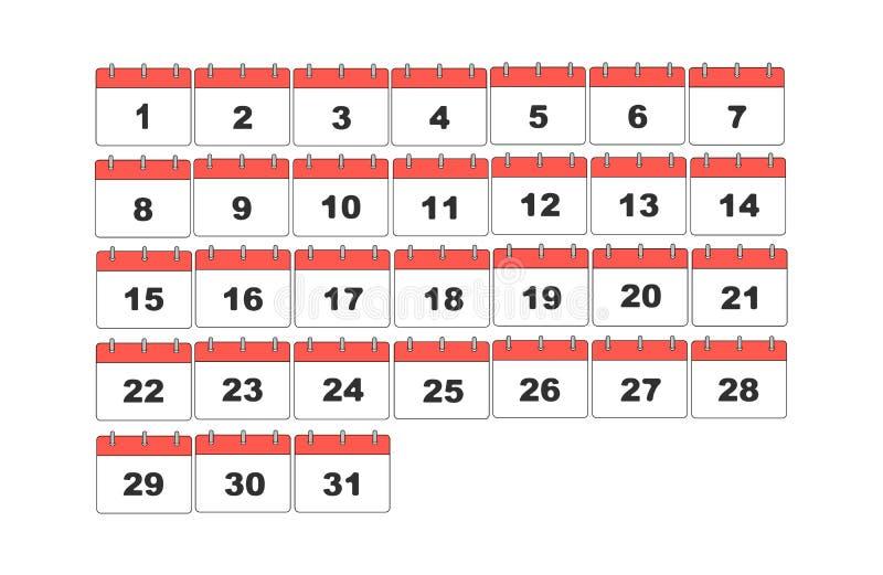 简单的传染媒介日历 设置31天 皇族释放例证