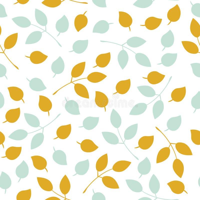 简单的传染媒介留下样式 在白色背景的秋叶无缝的样式 皇族释放例证