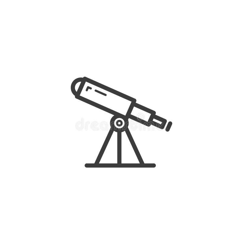 简单的传染媒介线艺术概述望远镜象 库存例证