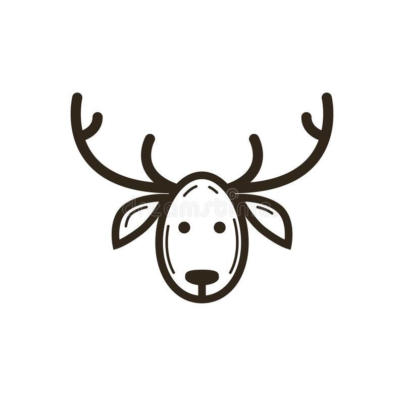 简单的传染媒介线艺术鹿头圣诞节象  向量例证