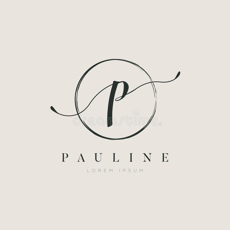简单的典雅的首写字母类型P商标标志标志象 库存例证