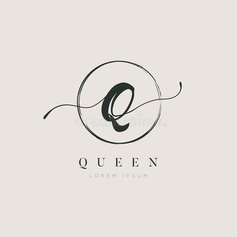 简单的典雅的首写字母类型Q商标标志标志象 皇族释放例证