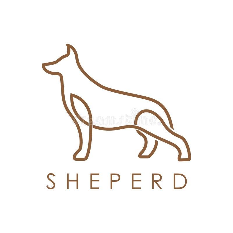 简单的典雅的monoline德国牧羊犬狗商标设计 皇族释放例证