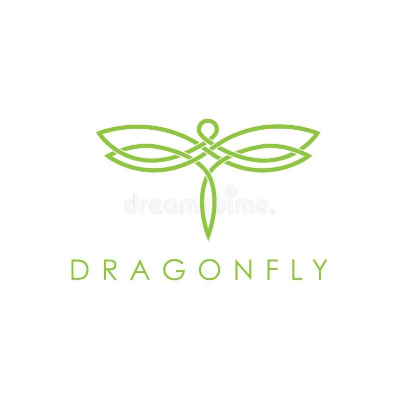简单的典雅的monoline蜻蜓商标设计 库存例证