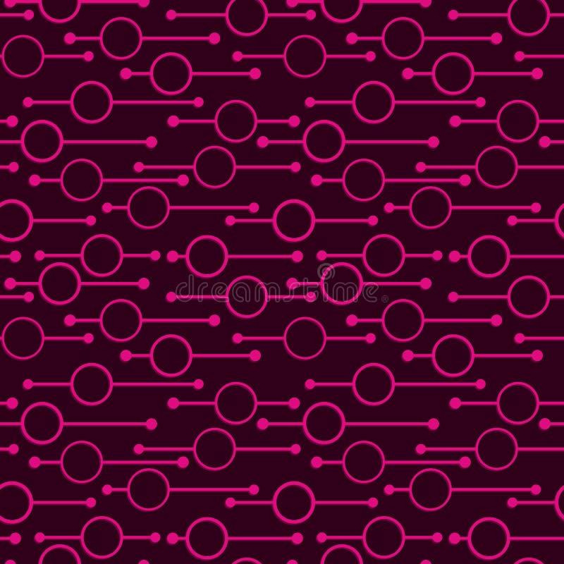 简单的几何发光的回合和线在黑暗的背景 在摘要传染媒介无缝的样式纺织品的,印刷品的霓虹灯 向量例证