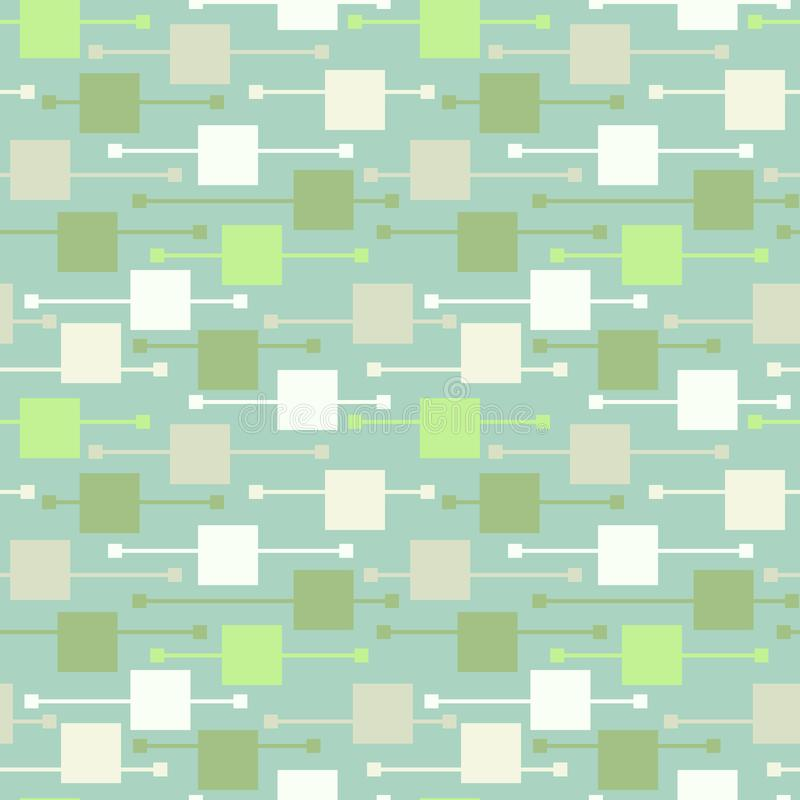 简单的几何多色苍白正方形和线在轻的背景 明亮的纺织品的摘要传染媒介无缝的样式, 向量例证