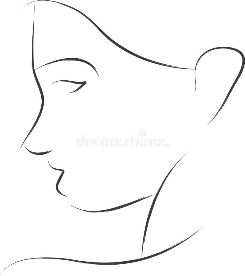 简单的剪影妇女 向量例证