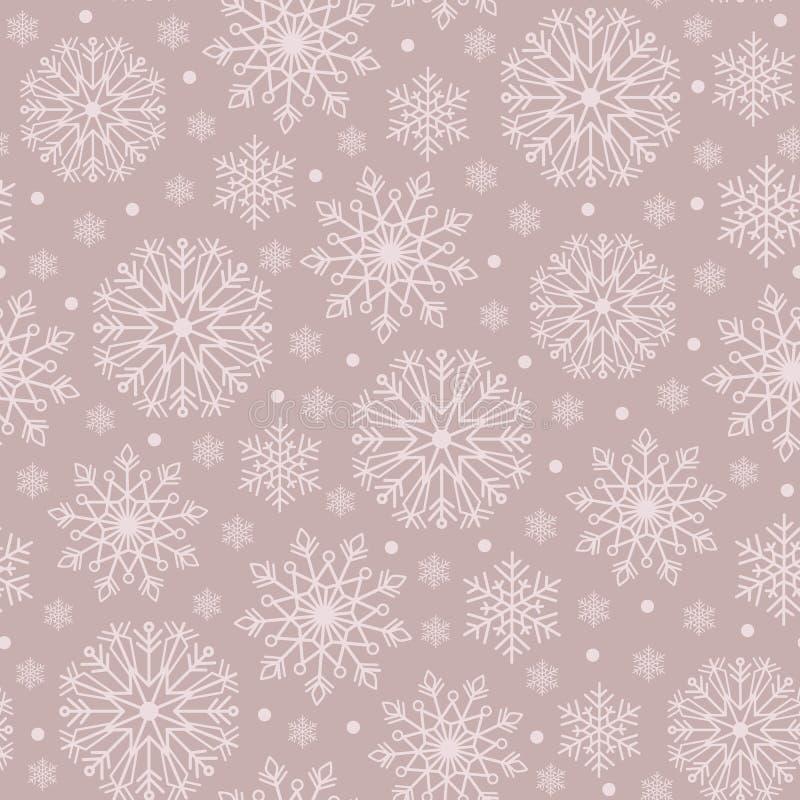 简单的单色漂泊圣诞节鞋带雪花导航织品的,墙纸无缝的样式背景 皇族释放例证