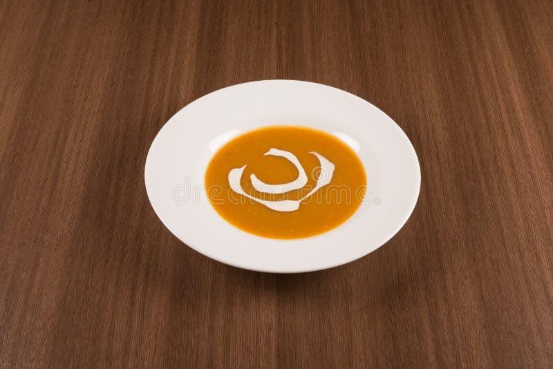 简单的南瓜奶油汤 免版税库存图片