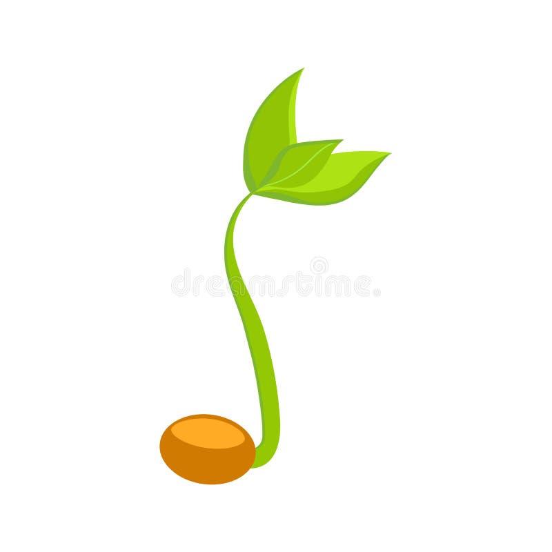 简单的发芽种子图画 新芽,植物,树生长农业象 也corel凹道例证向量 库存例证
