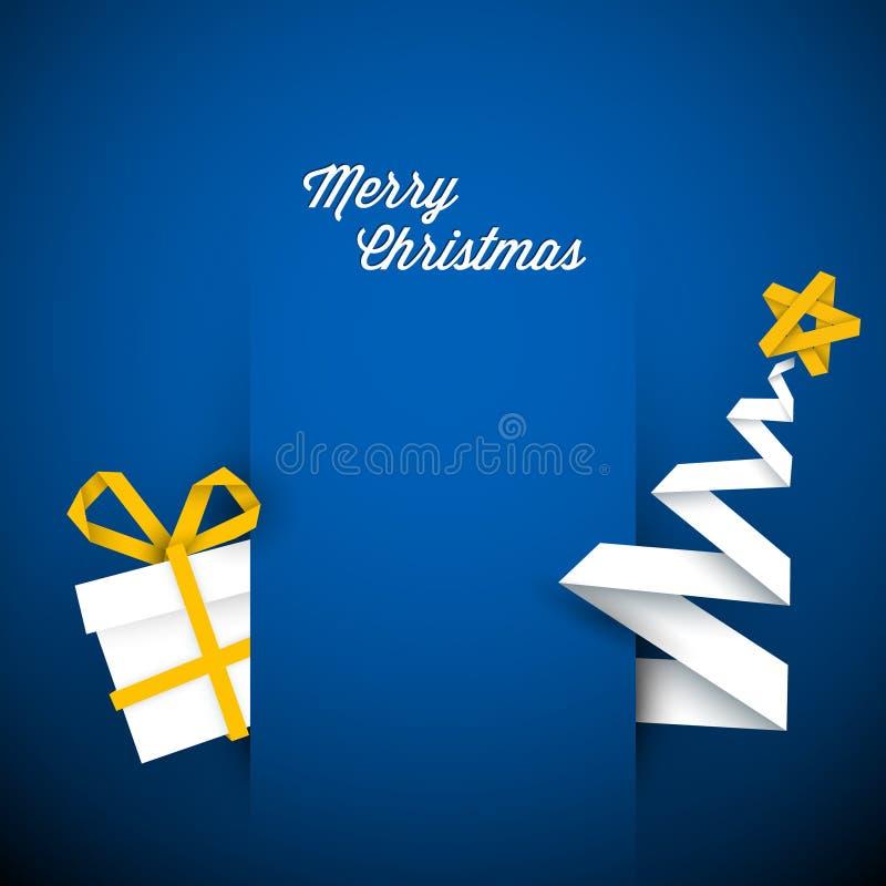 简单的向量蓝色圣诞卡例证 皇族释放例证