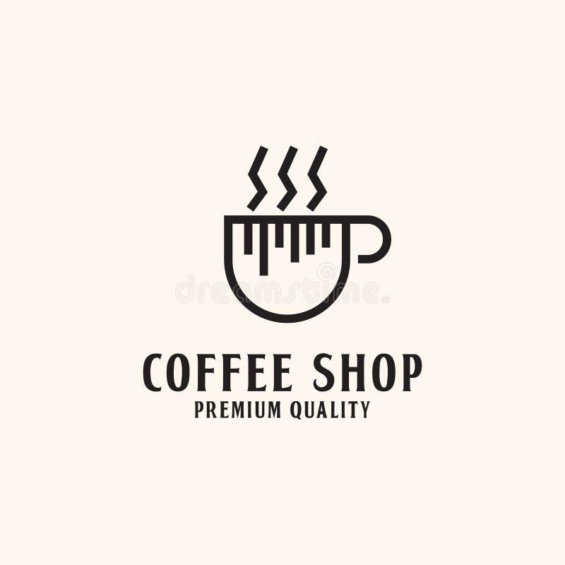 简单的咖啡馆商标设计,热的咖啡例证 库存例证