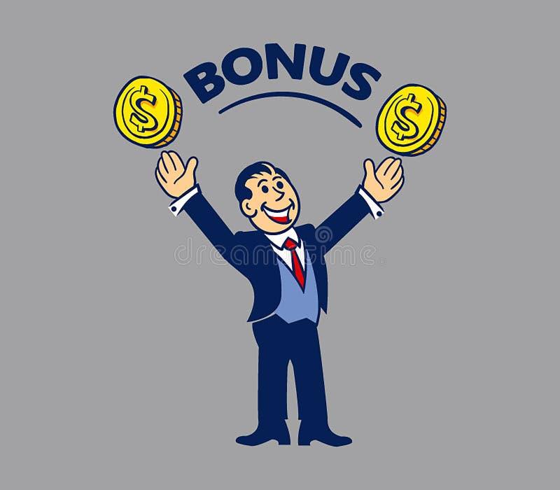 简单的商人得到奖金 库存例证
