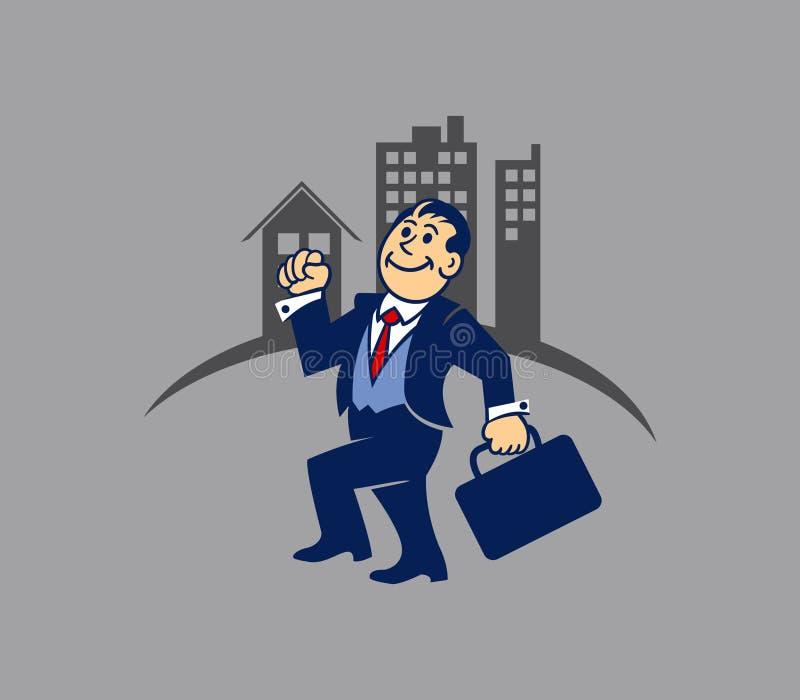 简单的商人去工作 向量例证