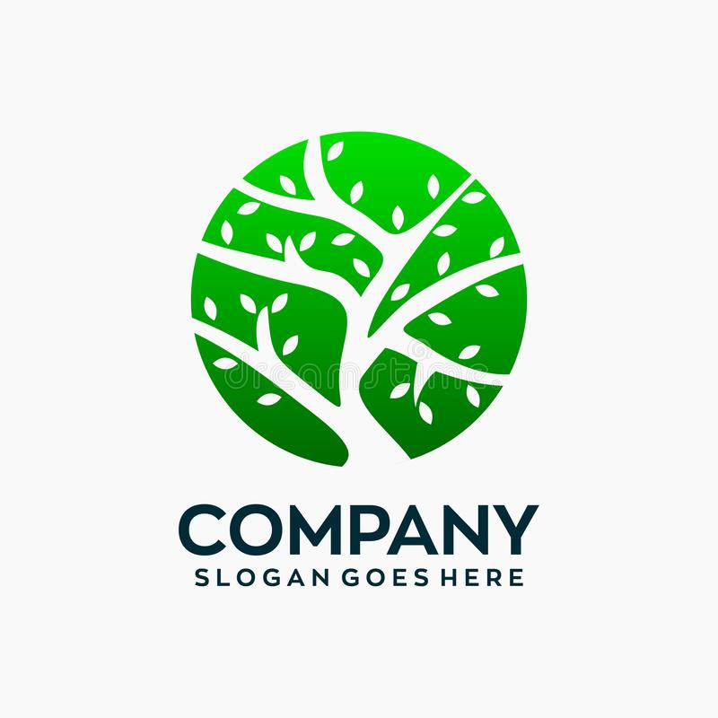 简单的圈子树商标设计模板 皇族释放例证