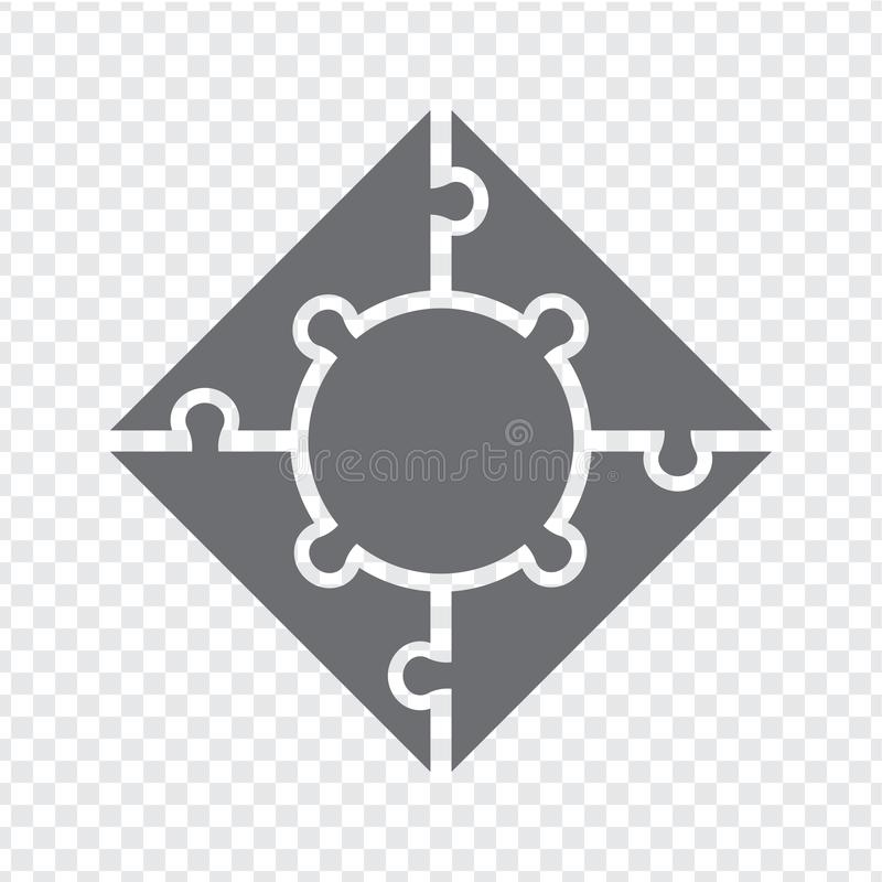 简单的在灰色的象方形的难题 四个元素和中心的简单的象五边形难题在透明背景 库存例证