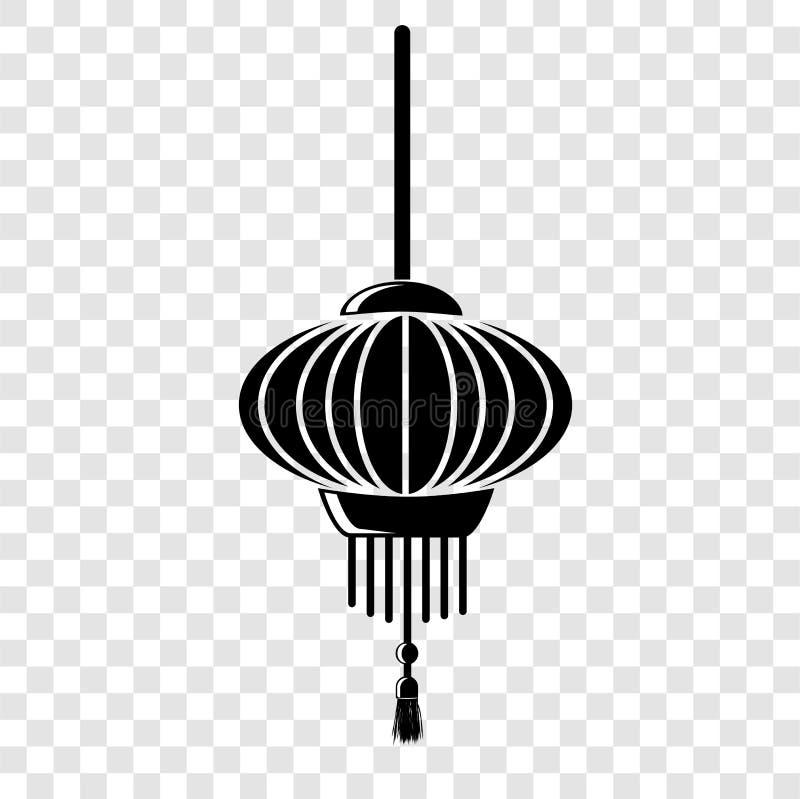 简单的在透明作用背景的象中国灯笼 向量例证