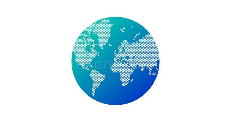 简单的地球形状,从在白色背景的小点创造的世界地图 全球性连接概念 皇族释放例证