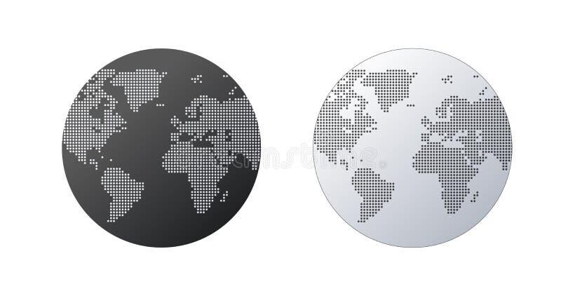 简单的地球形状,从在白色背景的小点创造的世界地图 全球性连接概念 向量例证
