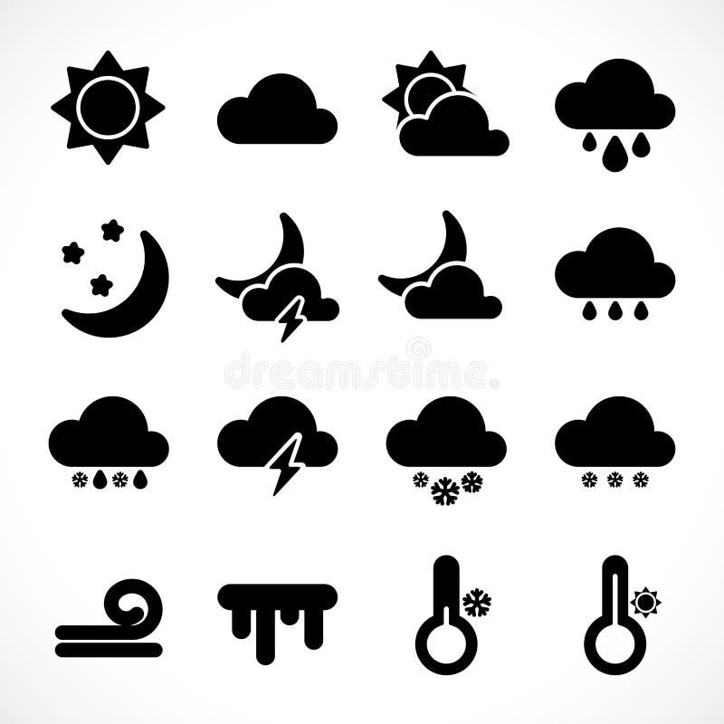简单的天气象设置了黑 向量例证