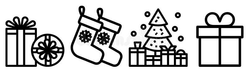 简单的套圣诞礼物相关传染媒介线象包含这样象当礼品券,当前提议,丝带和更 向量例证