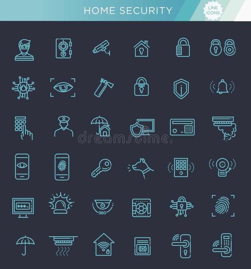 简单的套家庭与安全相关的传染媒介线象 库存例证