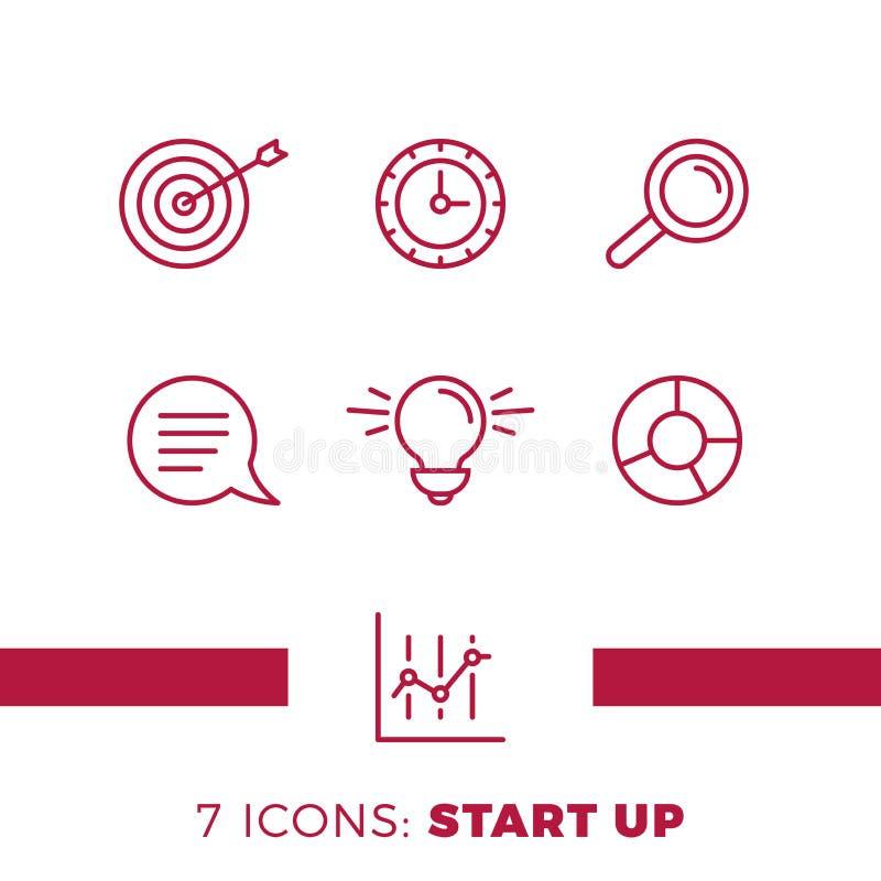 简单的套开始或与生意相关的传染媒介线象 包含这样象象电灯泡、目标,图和更多 库存例证