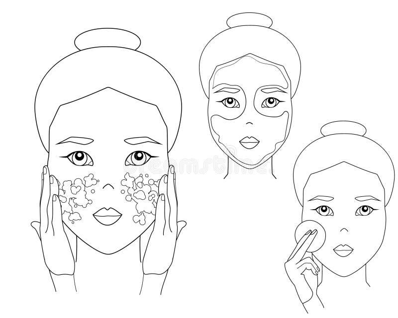 简单的妇女面孔 亚裔女孩投入面膜和洗涤的面孔 皮肤护理做法 库存例证