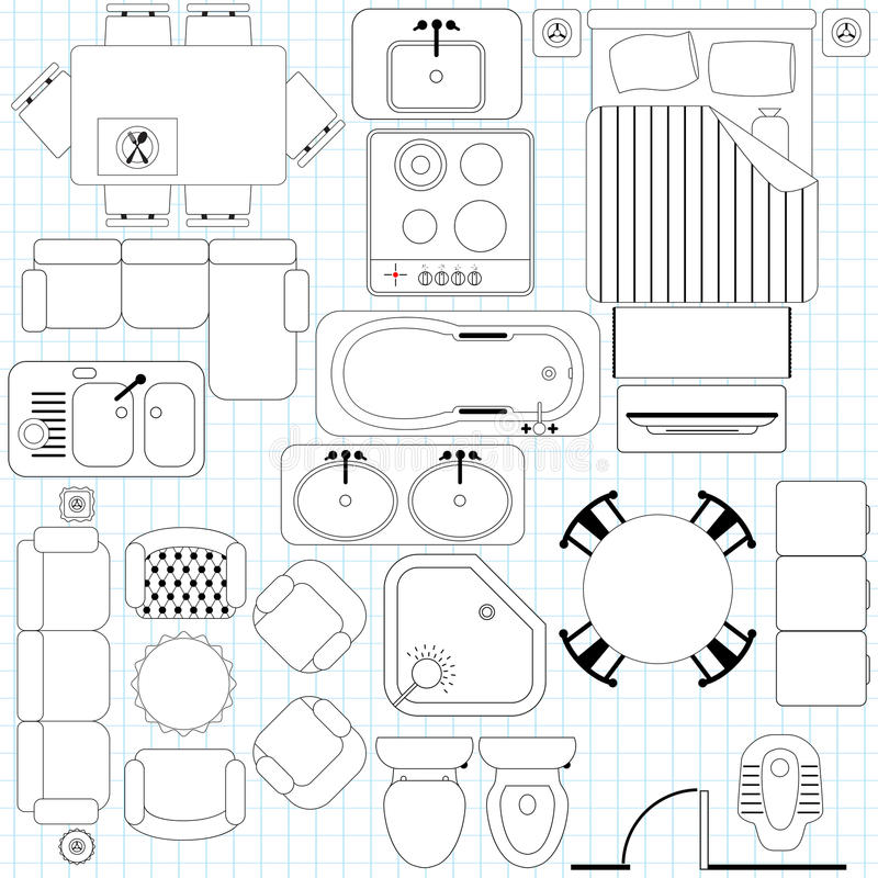 简单的家具/楼面布置图 向量例证