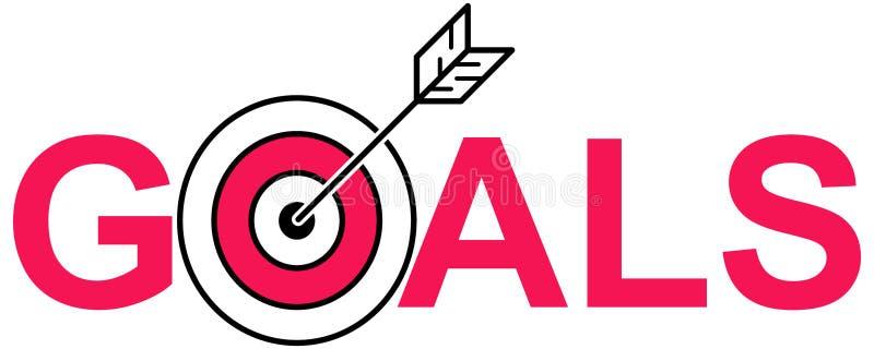 简单的干净的概念线艺术箭头传染媒介例证在公牛` s眼睛、目标和文本目标的 皇族释放例证
