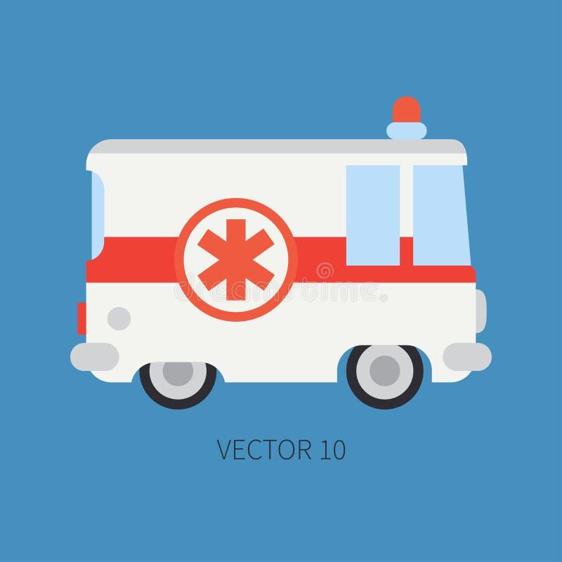 简单的平原传染媒介象救护车汽车 紧急协助车 动画片样式 复活 维护 向量例证