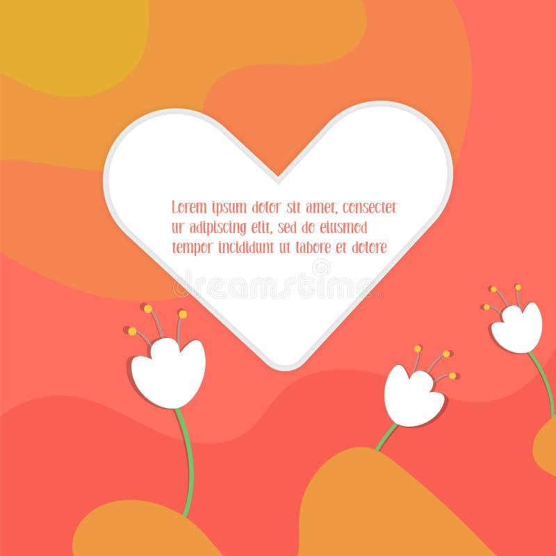 简单的平的卡片为情人节 向量例证