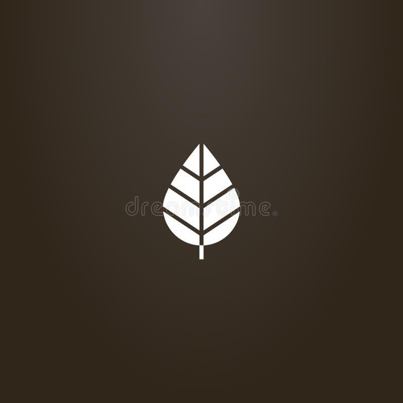简单的平的树叶子的艺术传染媒介消极空间标志  皇族释放例证