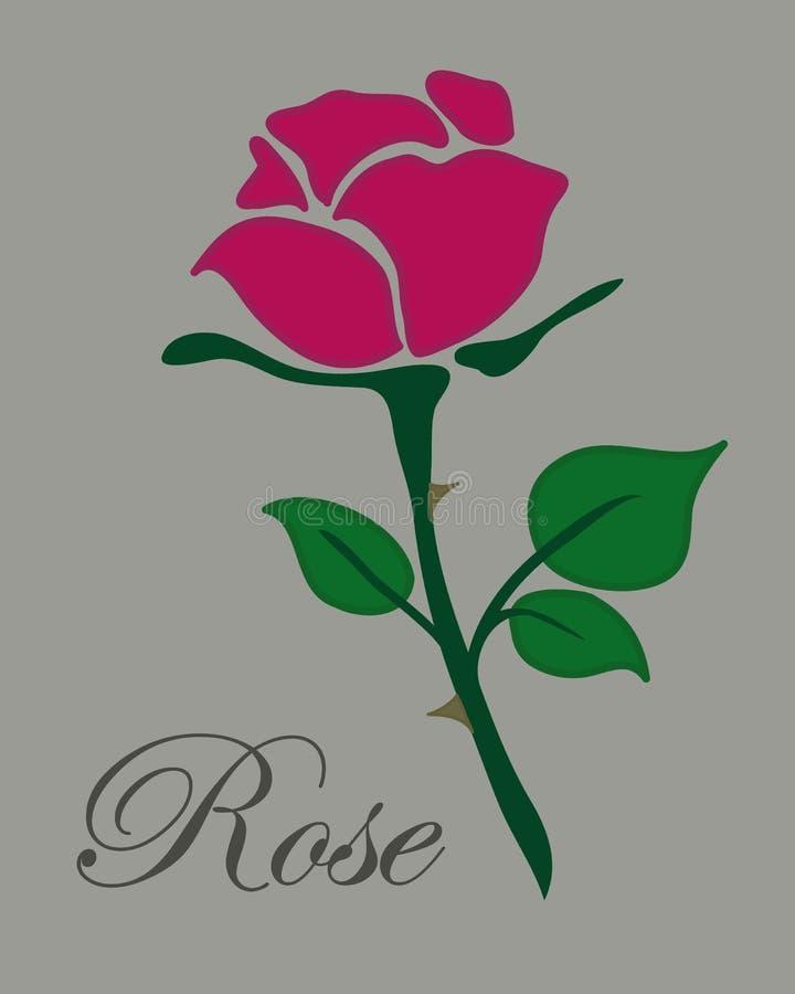 简单的平的红色玫瑰传染媒介手拉的象illlustration文本r 库存例证