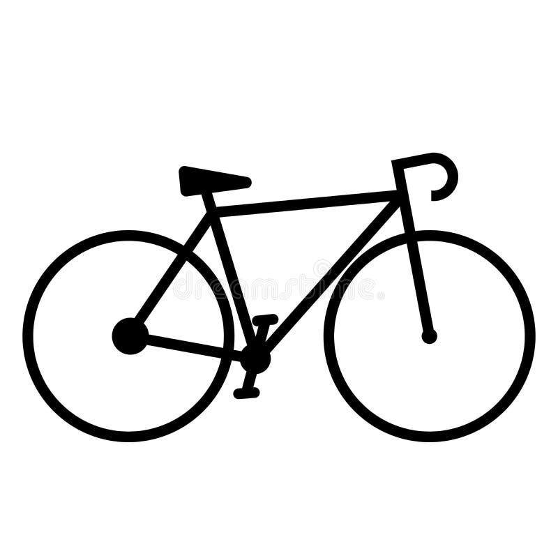 简单的平的黑白自行车象 皇族释放例证