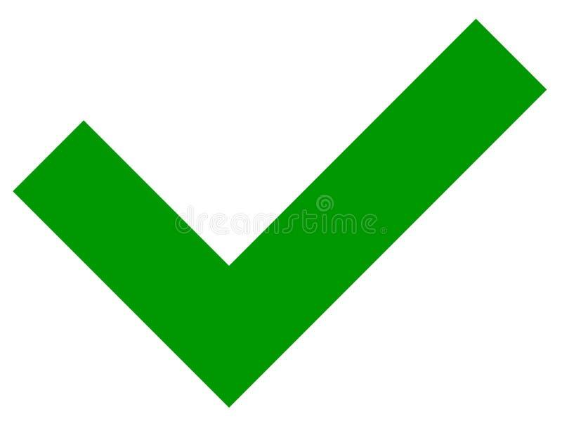 简单的平的绿色检查号,在白色的壁虱象 库存例证