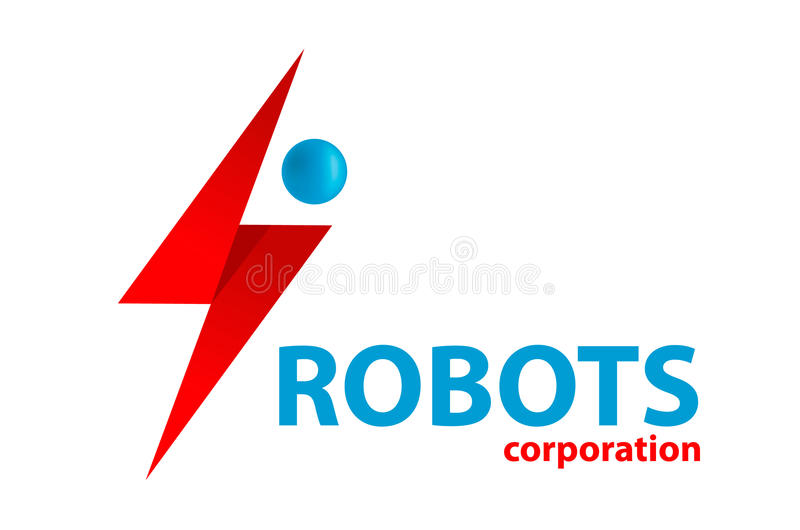 简单的平的droid机器人商标传染媒介 库存例证