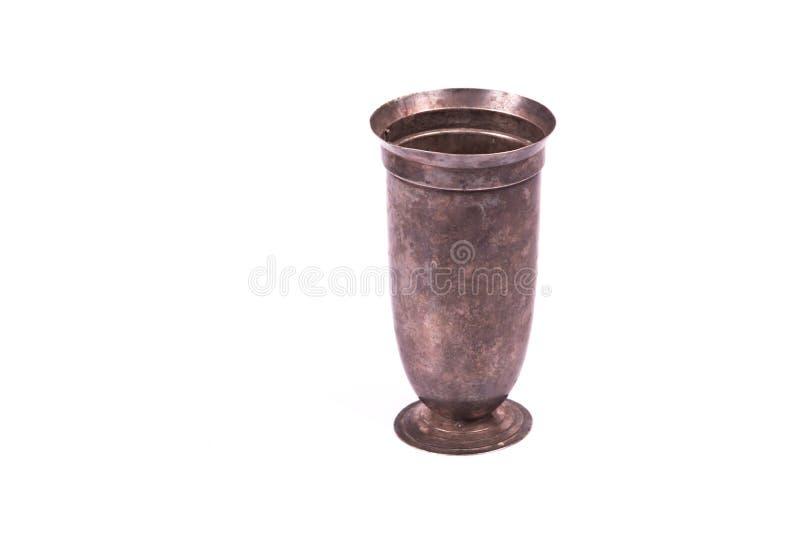 简单的形状古董银花瓶花 免版税库存照片