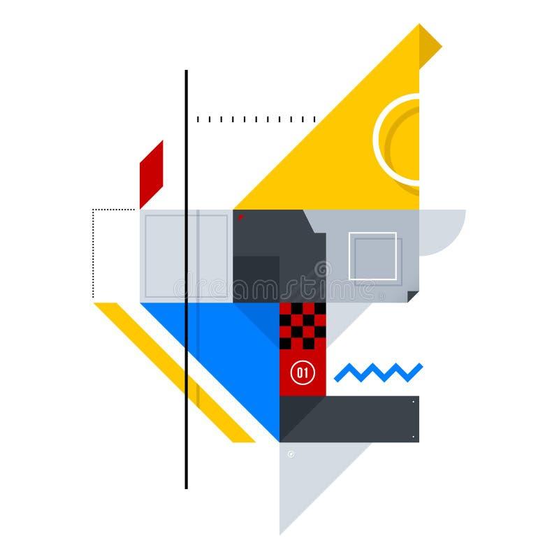 简单的形状的抽象构成 向量例证
