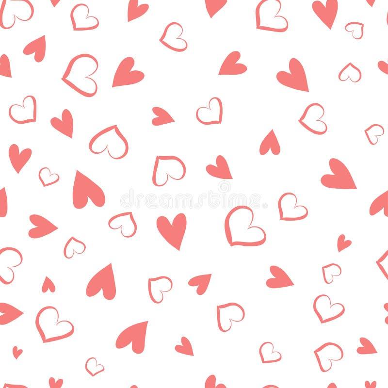 简单的心脏无缝的传染媒介样式 重点 平的设计不尽的混乱纹理由微小的心脏制成 皇族释放例证