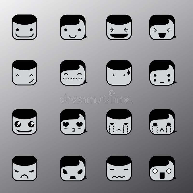 简单的情感面孔标志 皇族释放例证