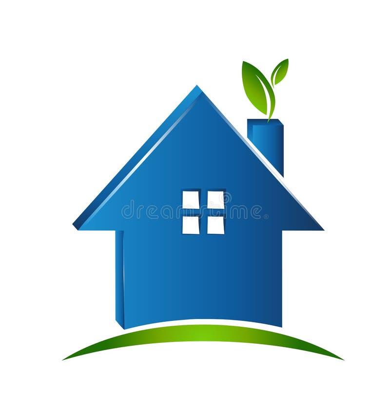 简单的房子绿色环境象 库存例证