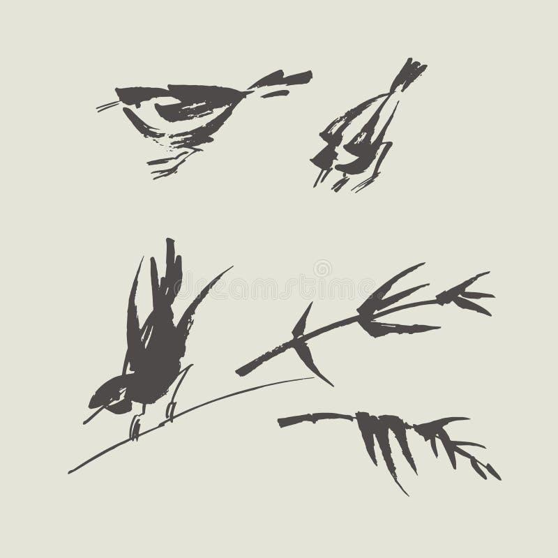 简单的手画黑白鸟 皇族释放例证