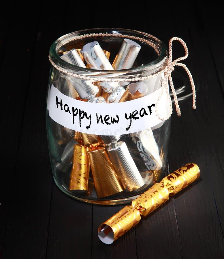 简单的新年快乐概念装饰 免版税图库摄影