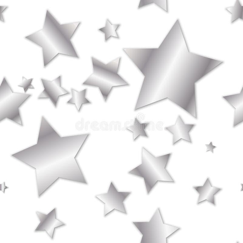 简单的无缝的样式-在白色背景的银色星 向量例证