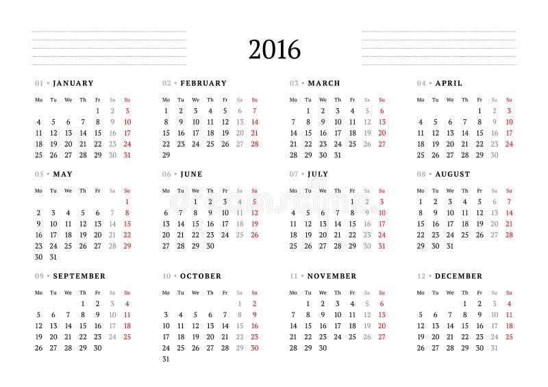 简单的日历在2016年 12个月 星期星期一开始 皇族释放例证